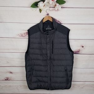 PrAna | Grey/Black Puffy Down Zip Up Vest XL